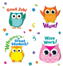 Colorful Owl Motivators Shape Stickers
