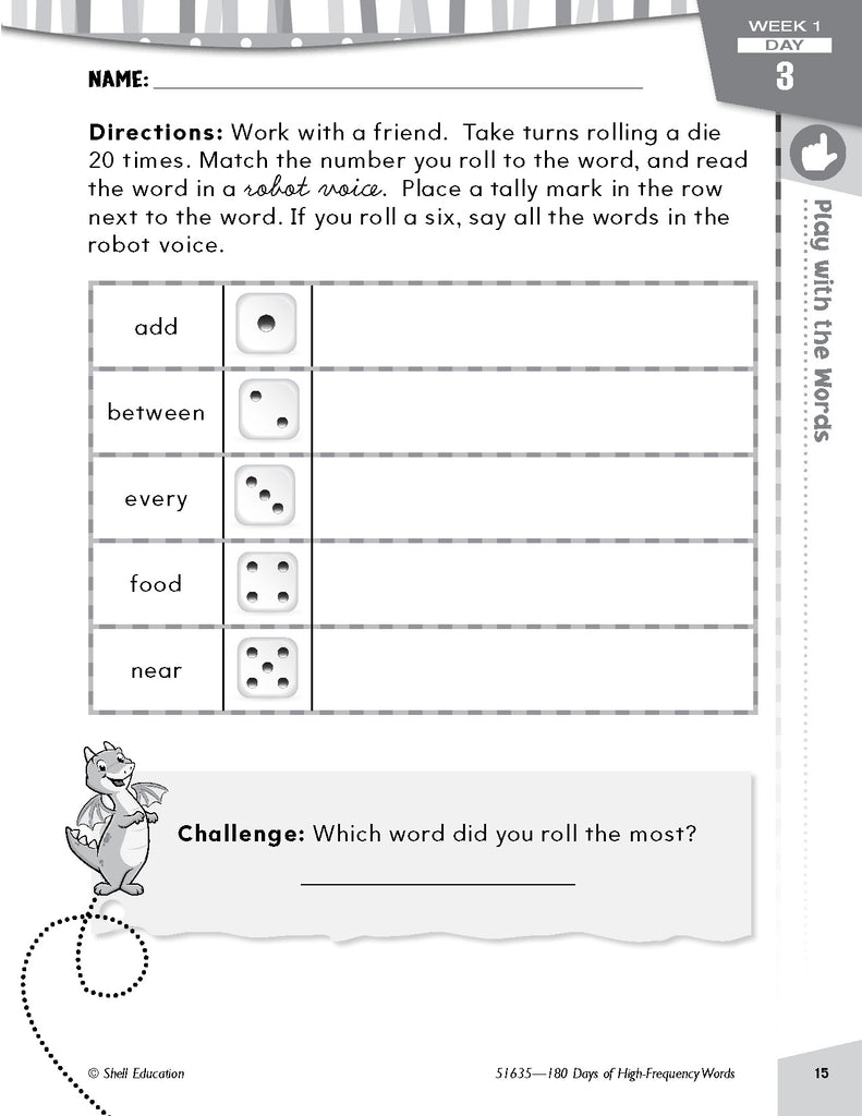 Shell Education 180 Days of High-Frequency Words for Second Grade