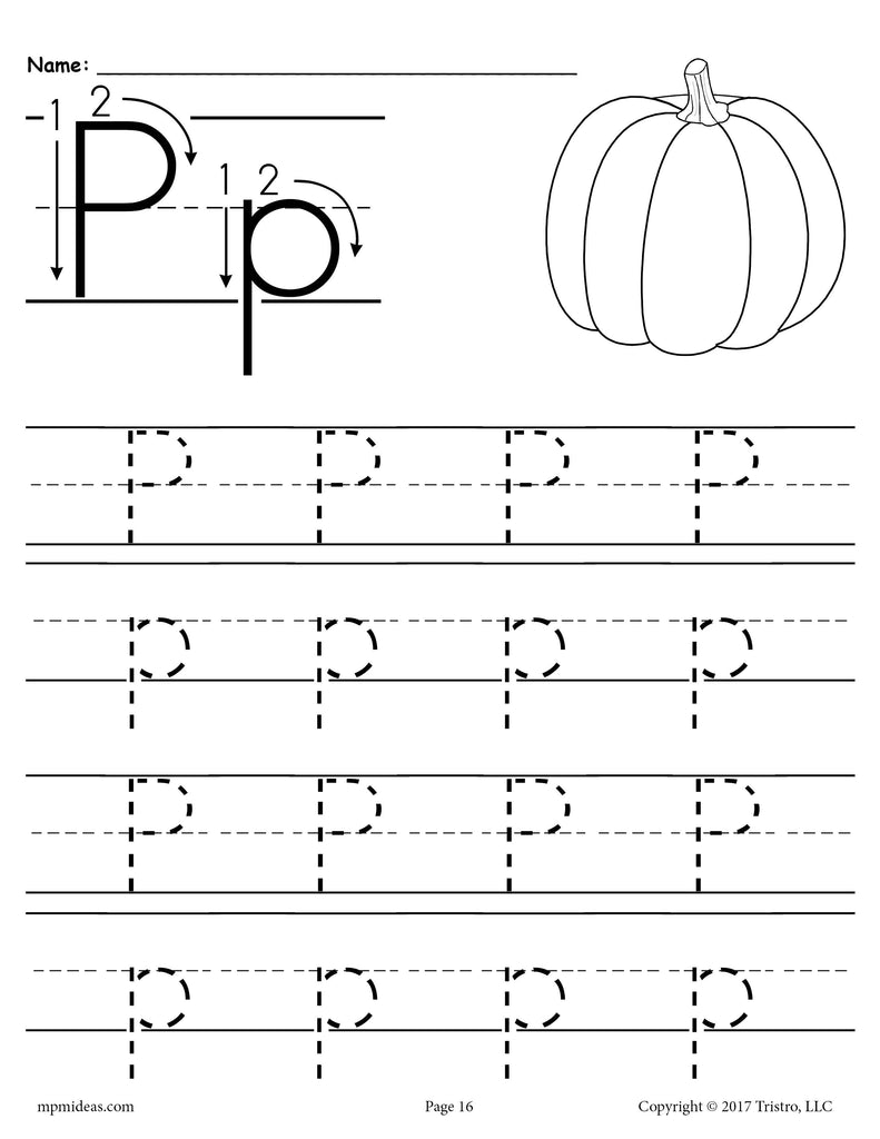 free printable letter p tracing worksheet supplyme. Black Bedroom Furniture Sets. Home Design Ideas