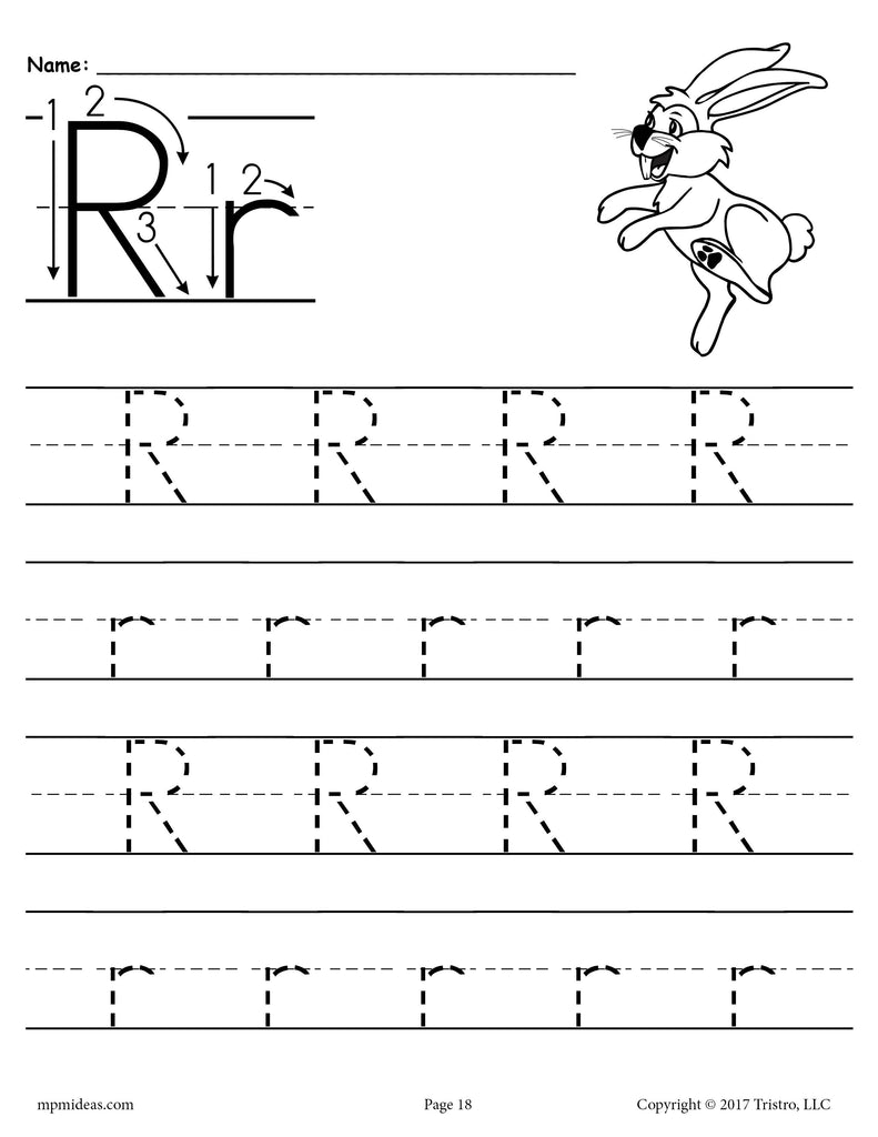 Free Printable Letter R Tracing Worksheet Supplyme