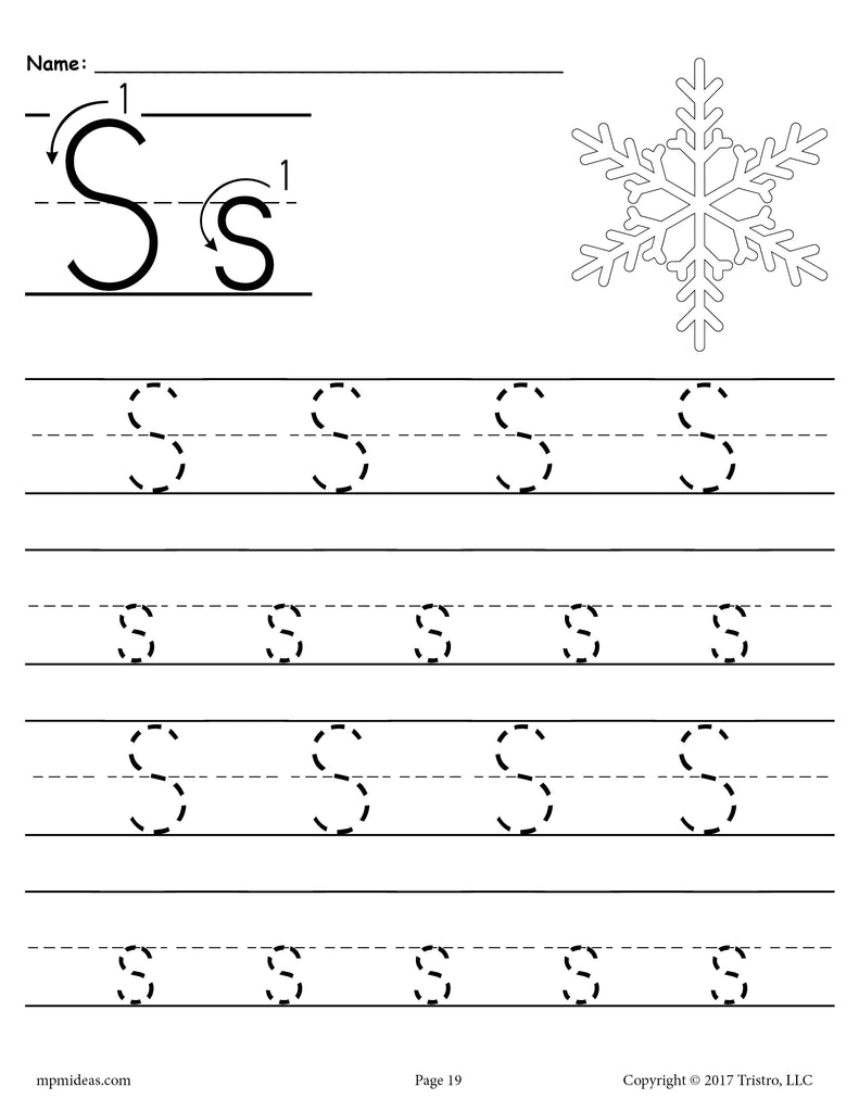 image about Printable Letter S named Absolutely free Printable Letter S Tracing Worksheet! SupplyMe