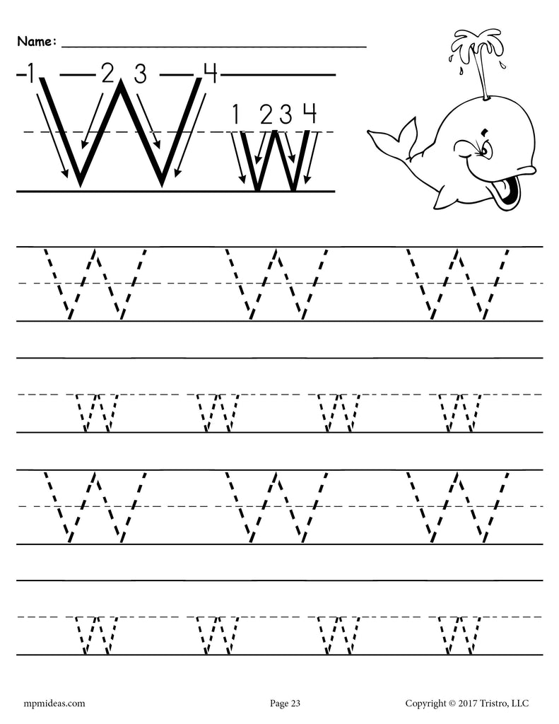 free printable letter w tracing worksheet supplyme. Black Bedroom Furniture Sets. Home Design Ideas