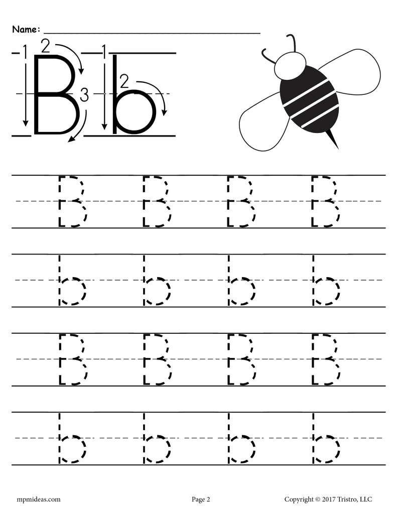 free printable letter b tracing worksheet supplyme. Black Bedroom Furniture Sets. Home Design Ideas