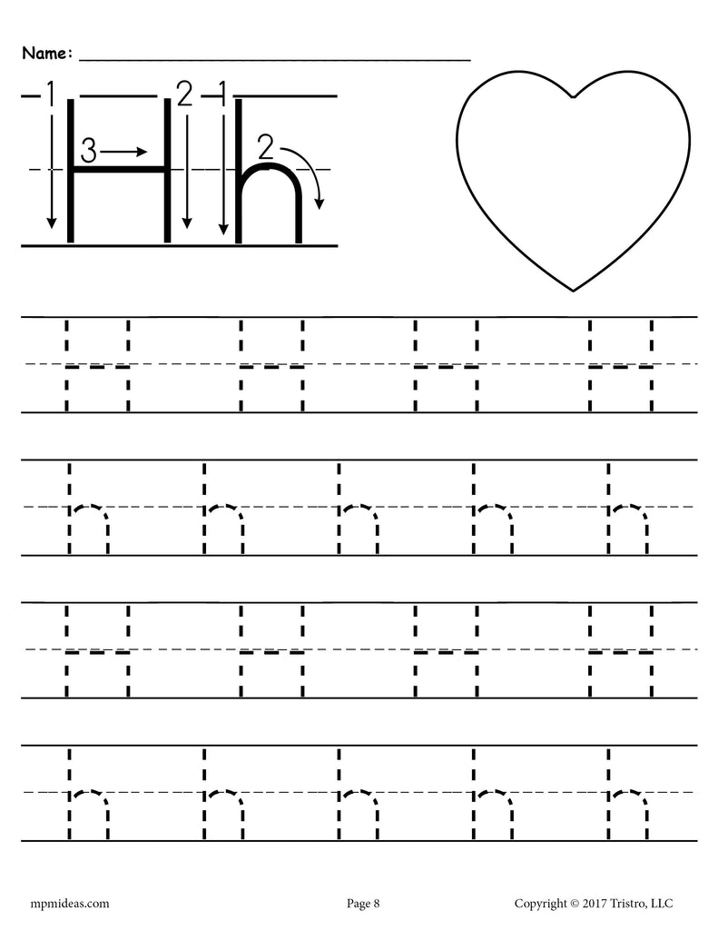 photograph relating to Printable Letter H known as Free of charge Printable Letter H Tracing Worksheet! SupplyMe