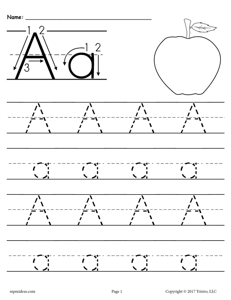 26 alphabet letter tracing worksheets uppercase and lowercase supplyme. Black Bedroom Furniture Sets. Home Design Ideas