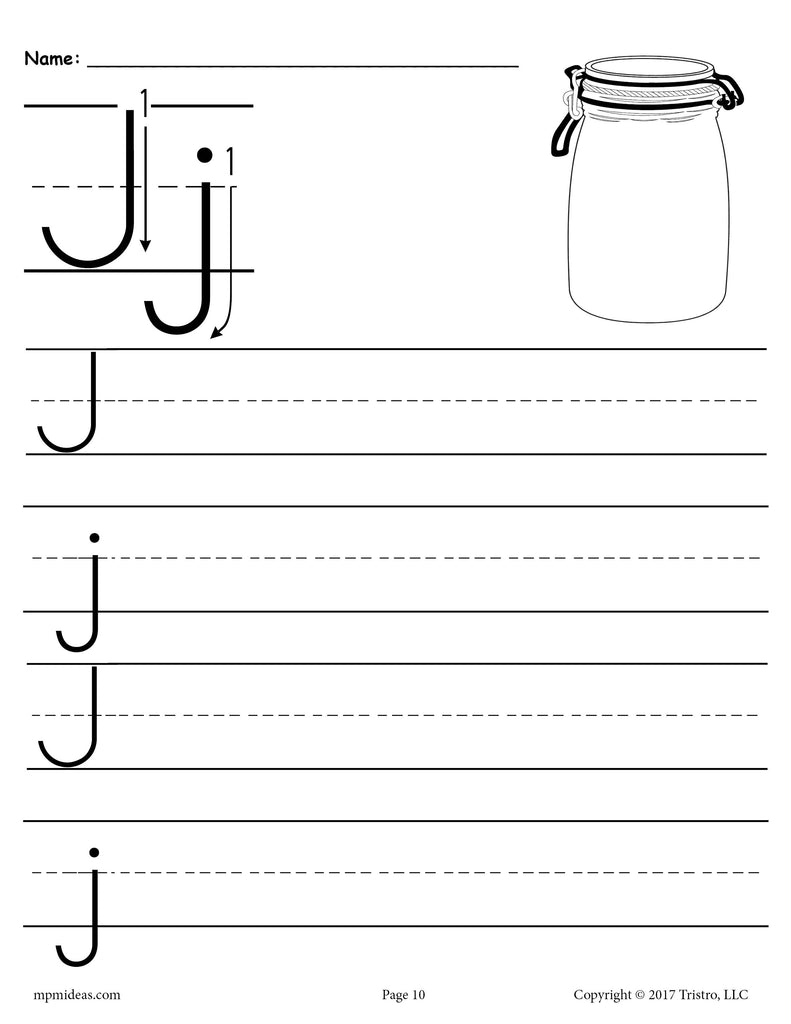 free printable letter j handwriting worksheet supplyme. Black Bedroom Furniture Sets. Home Design Ideas