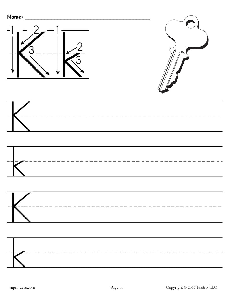 picture relating to Letter K Printable named No cost Printable Letter K Handwriting Worksheet! SupplyMe