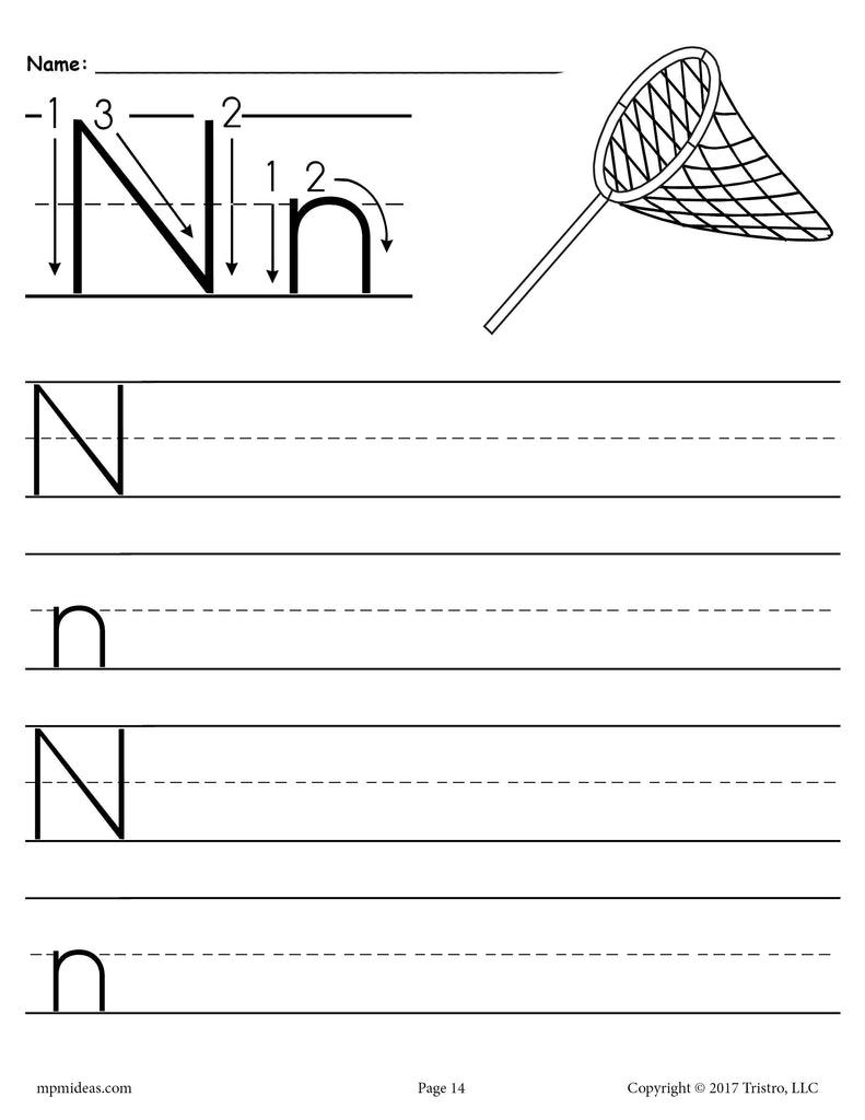 graphic relating to Printable Letter N known as Free of charge Printable Letter N Handwriting Worksheet! SupplyMe