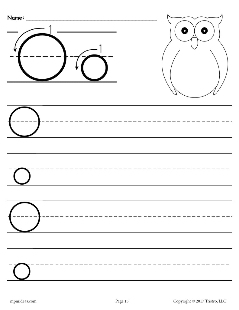 free printable letter o handwriting worksheet supplyme. Black Bedroom Furniture Sets. Home Design Ideas