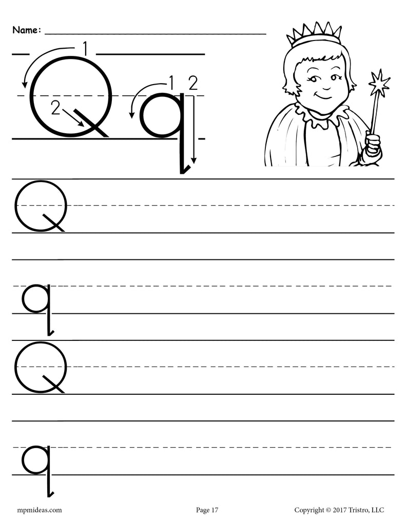 free printable letter q handwriting worksheet supplyme. Black Bedroom Furniture Sets. Home Design Ideas