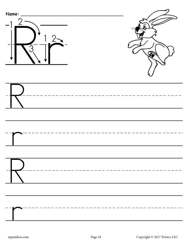free printable letter r handwriting worksheet supplyme. Black Bedroom Furniture Sets. Home Design Ideas