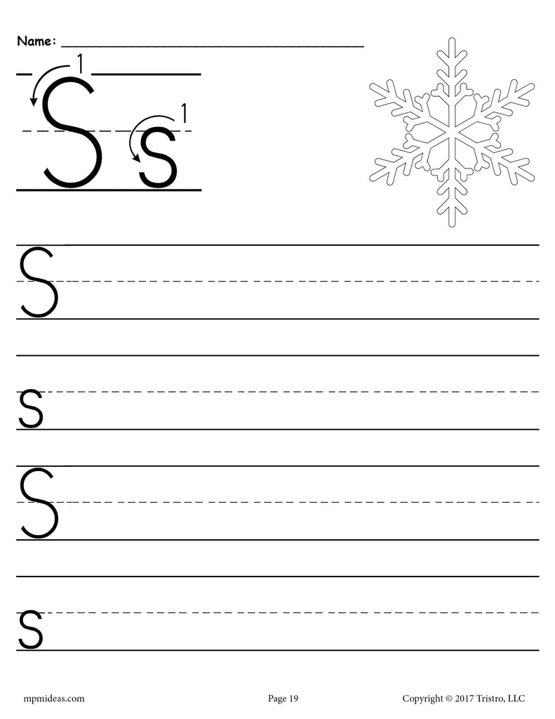 free printable letter s handwriting worksheet supplyme. Black Bedroom Furniture Sets. Home Design Ideas