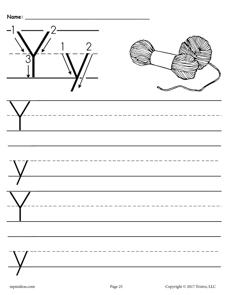 photograph regarding Letter Y Printable referred to as No cost Printable Letter Y Handwriting Worksheet! SupplyMe