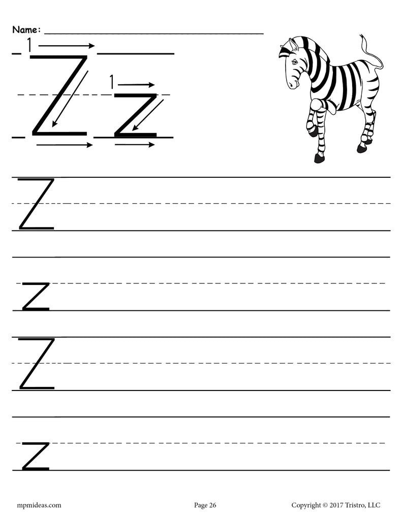 free printable letter z handwriting worksheet supplyme. Black Bedroom Furniture Sets. Home Design Ideas