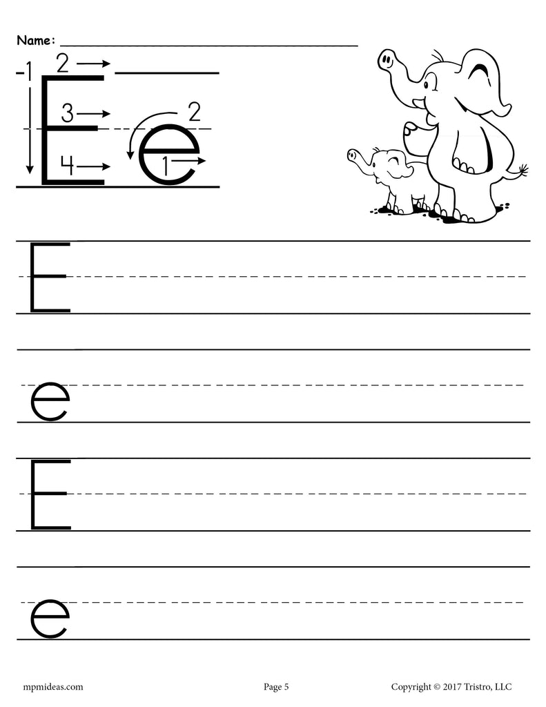 free printable letter e handwriting worksheet supplyme. Black Bedroom Furniture Sets. Home Design Ideas