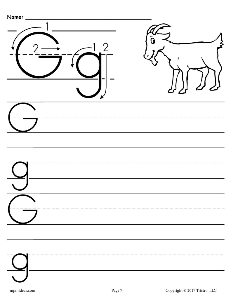 free printable letter g handwriting worksheet supplyme. Black Bedroom Furniture Sets. Home Design Ideas