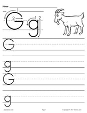 Printable Letter G Handwriting Worksheet!