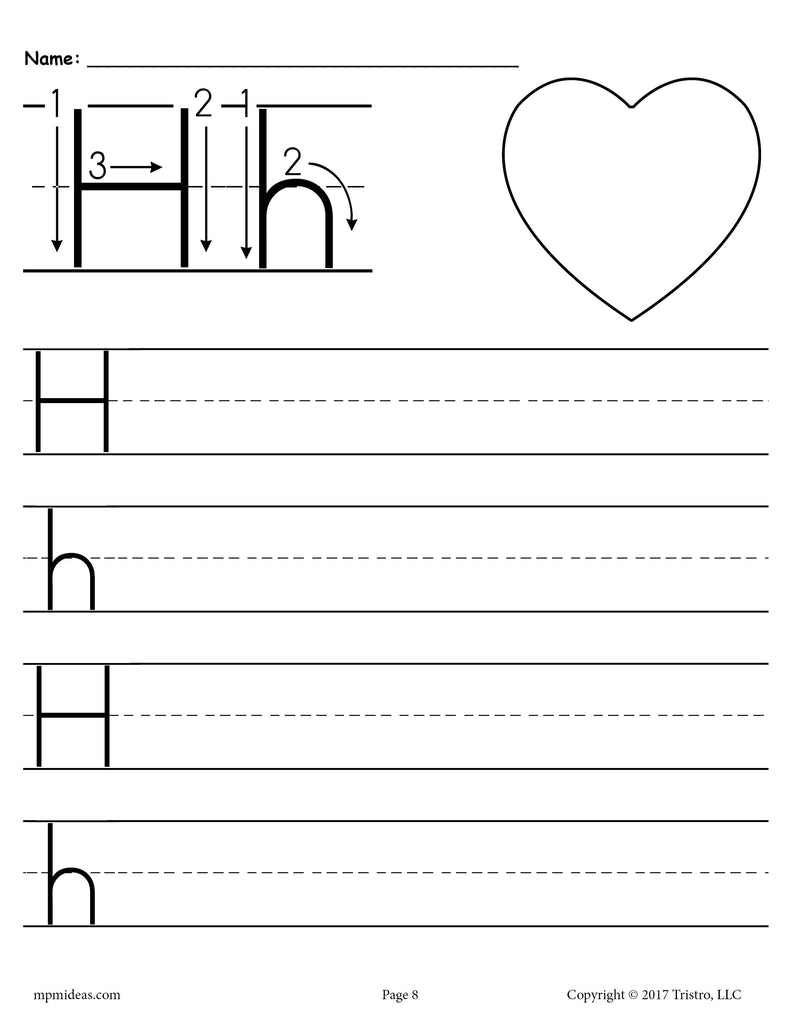 picture about Letter H Printable identify No cost Printable Letter H Handwriting Worksheet! SupplyMe