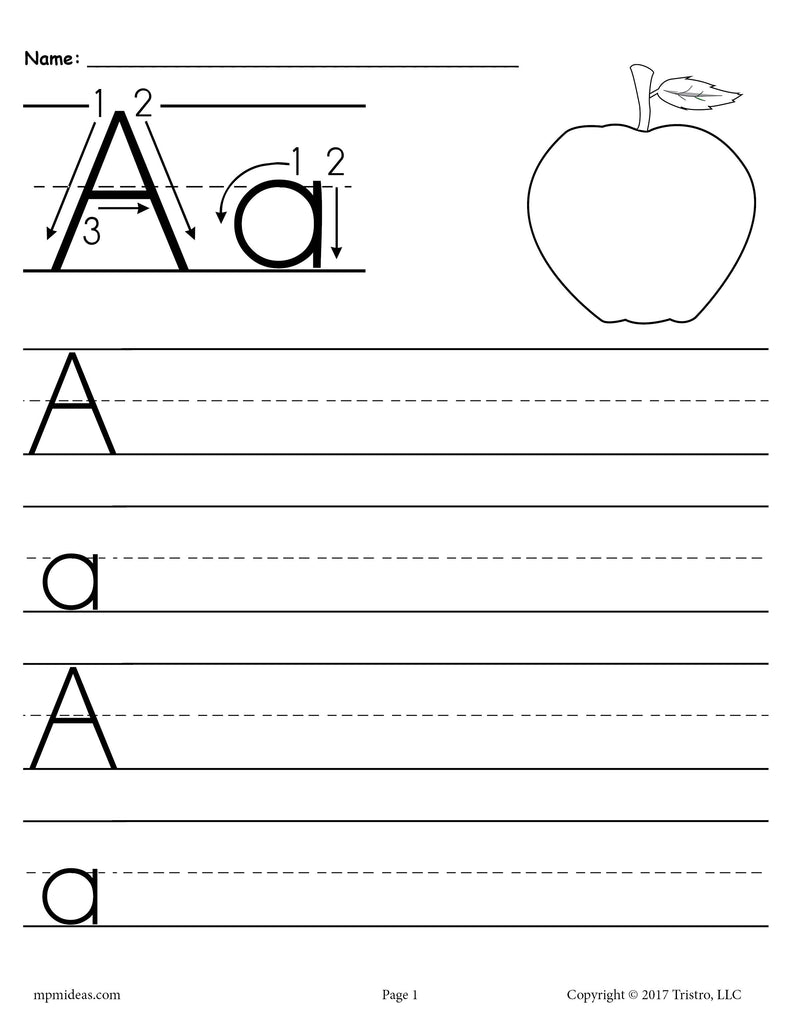 free printable letter a handwriting worksheet supplyme. Black Bedroom Furniture Sets. Home Design Ideas