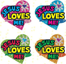 Jesus Loves Me Dazzle Stickers