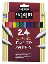 Sargent Art Classic Markers Fine Tip, 24 Colors