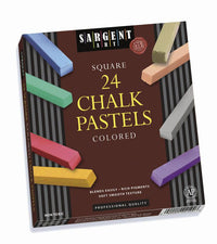 24 Count Assorted Color Artists Chalk Pastels Lift Lid Box