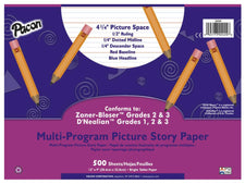 Multi-Program Handwriting Picture Story Paper, 12″ x 9″ Grade 1, 2, & 3