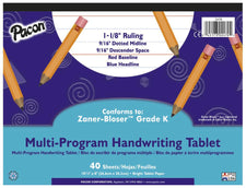 "Handwriting Paper, 10 1/2"" x 8"", 1 1/8"" Ruled Long Way, 40 Sheets"