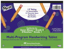 "Handwriting Paper, 10 1/2"" x 8"", 1/2"" Ruled Long Way, 40 Sheets"