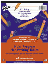"Handwriting Paper, 8"" x 10 1/2"", 1/2"" Ruled Short Way, 40 Sheets"