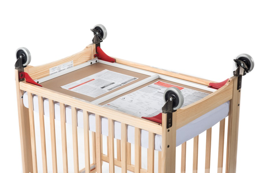 Next Gen First Responder® Evacuation Fixed-Side Crib, Clearview, Natural