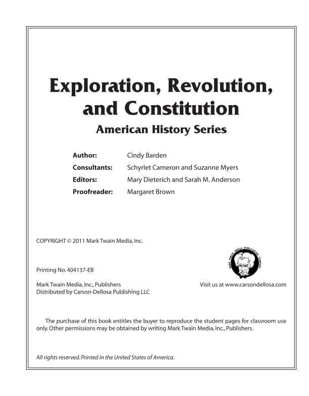 Carson Dellosa Exploration, Revolution, and Constitution Resource Book