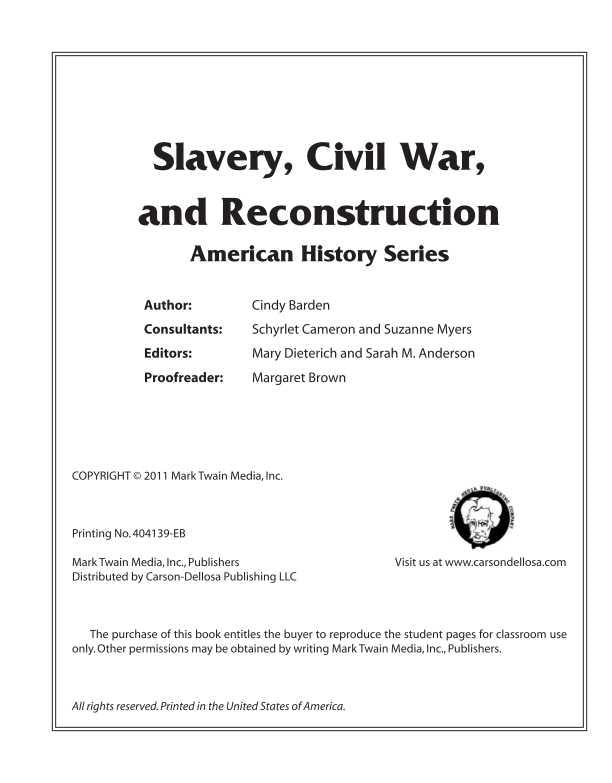 Slavery, Civil War, and Reconstruction Resource Book