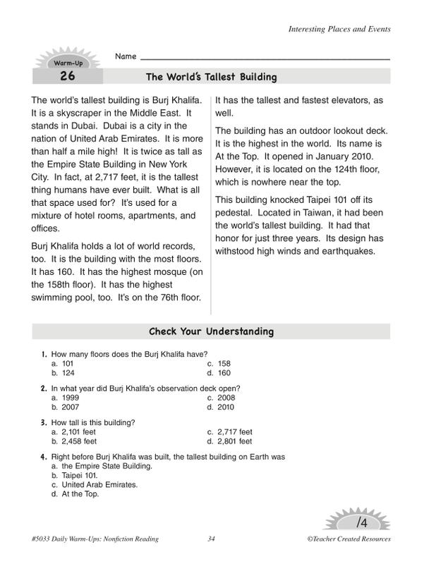 Teacher Created Resources Daily Warm-Ups: Nonfiction Reading Grade 3