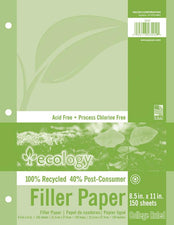 Ecology Recycled Filler Paper, 150 Sheets 9/32 Inch College Ruling