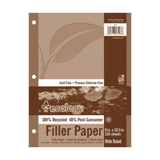 Ecology® Recycled Filler Paper, 8″ x 10-1/2″ Wide Rule