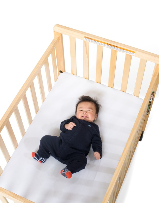 SafetyCraft® Compact Fixed-Side Crib, Slatted, Natural