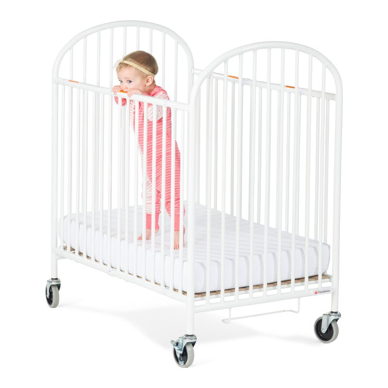 Pinnacle™ Compact Steel Folding Crib, White with Foam Mattress