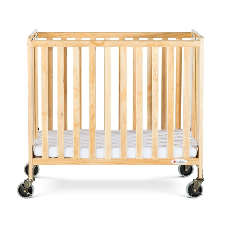 HideAway™ Compact Fixed-Side Wood Folding Crib, Natural