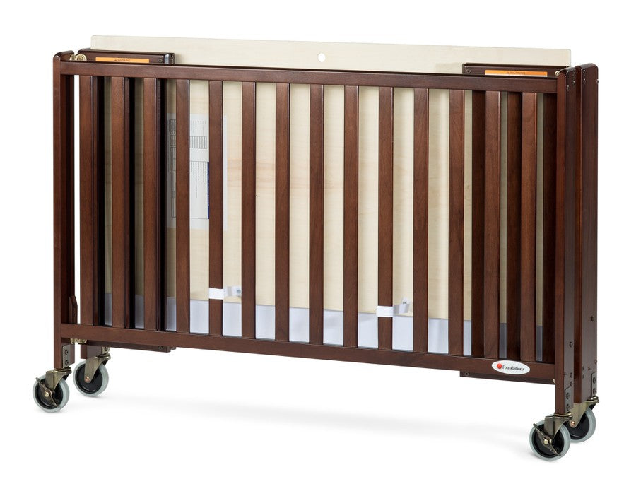 HideAway™ Full-Size Fixed-Side Wood Folding Crib, Antique Cherry