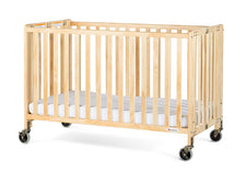 HideAway™ Full-Size Fixed-Side Wood Folding Crib, Natural