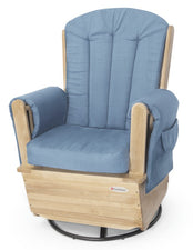 SafeRocker™ Swivel Glider, Natural Base with Blue Cushions