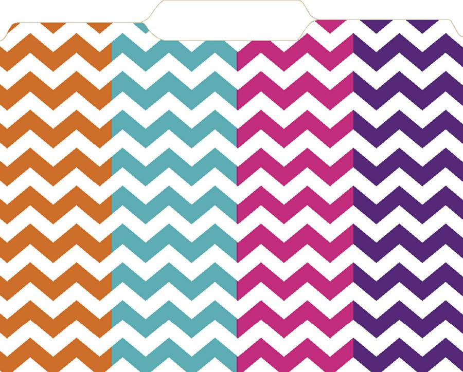 Top Notch Teacher Chevron File Folders 12Pk