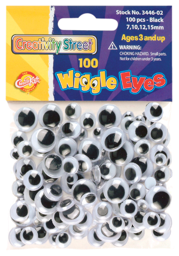 Wiggle Eyes - 100 Pieces - Black