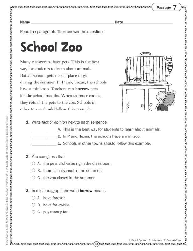 Scholastic Comprehension Skills: 40 Short Passages for Close Reading: Grade  2