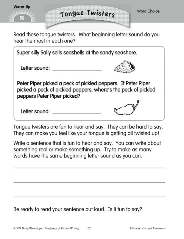 Teacher Created Resources Daily Warm-Ups: Nonfiction & Fiction Writing  Grade 1