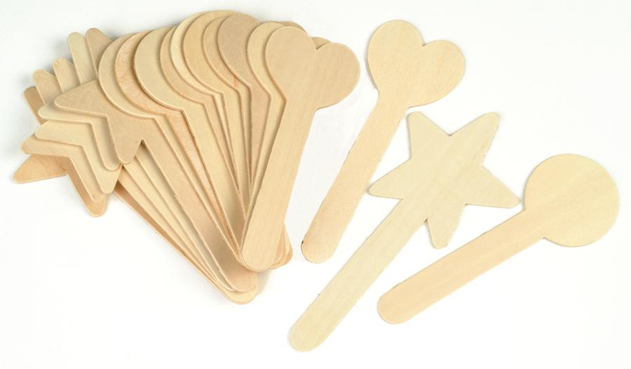 Wood Craft Sticks - Large Geometric Shapes - 36 Pieces