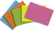 Index Cards 3 x 5 Lined 75 Count Brite Assorted