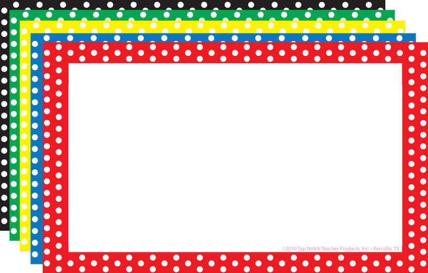 Border Index Cards 3 x 5 Polka Dot Blank