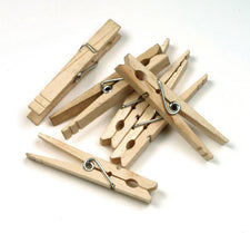 Large Wooden Spring Clothespins - 50 Pieces